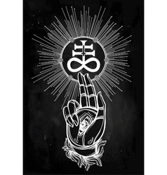 Handwith eye of providence and satanic cross vector