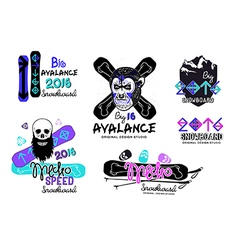 Set of snowboard logos emblems vector