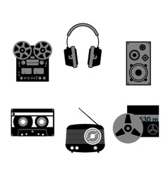 Grayscale music icons vector