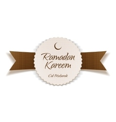 Ramadan kareem eid mubarak greeting label vector