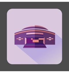 Round purple building icon flat style vector