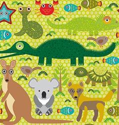 Animals australia snake turtle crocodile alliagtor vector