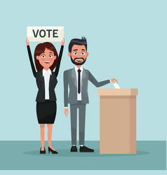 background scene man in formal suit vote in urn vector image vector image