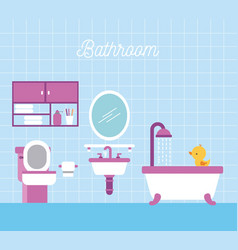 bathroom bath shower toilet paper cabinet and duck vector image
