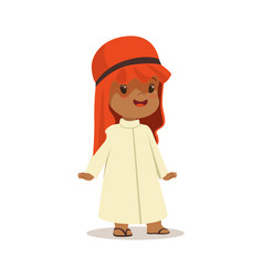 Boy wearing in white dress and red muslim vector