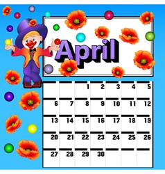 calendar for April clown vector image