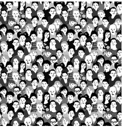 children crowd group monochrome seamless pattern vector image vector image