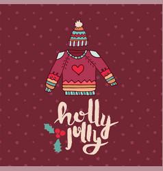 Christmas sweater fashion cartoon holiday card vector
