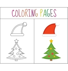 Coloring book page christmas santa hats and vector