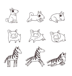 Cute doggies pigs and zebras vector image vector image