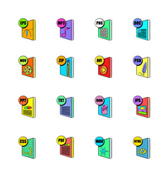 File format icons set cartoon vector