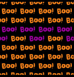 halloween tile pattern with orange and violet boo vector image vector image