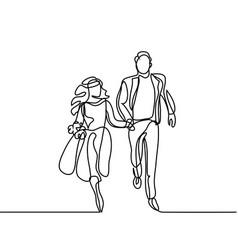 Happy running couple vector