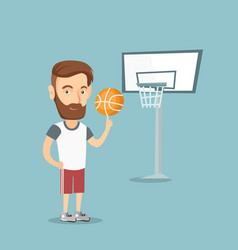 Hipster basketball player spinning a ball vector