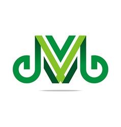 lettering m alphabet icon design vector image