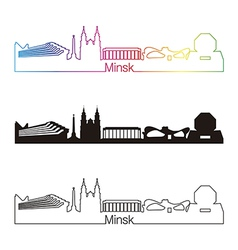 Minsk skyline linear style with rainbow vector image