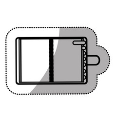 monochrome sticker with notepad and marker vector image