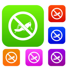 No locust sign set collection vector