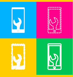 phone icon with settings four styles of icon on vector image vector image