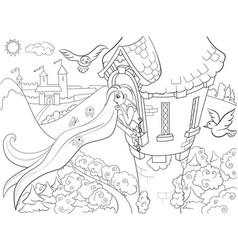 princess rapunzel in the stone tower coloring for vector image