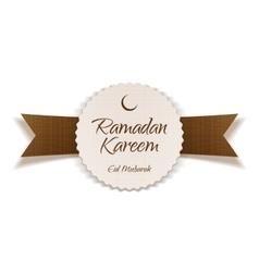Ramadan kareem eid mubarak greeting label vector