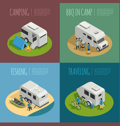 Recreational vehicles concept icons set vector