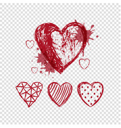 red doodle hearts on transparent background vector image