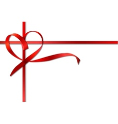 Red heart ribbon bow vector image vector image