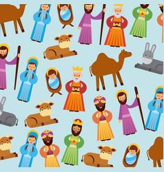 Set of people animal manger christmas holiday vector