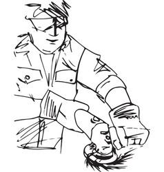 sketch of man with circular saw vector image