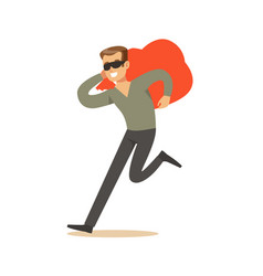 Thief in a black mask carrying an orange bag vector