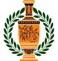 Greek vase with laurel wreath vector