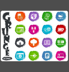 Server network icons set in grunge style vector