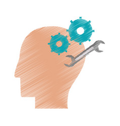 drawing profile head gear spanner repair vector image