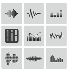 Black music soundwave icons set vector