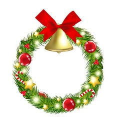 Christmas wreath with hand bells vector
