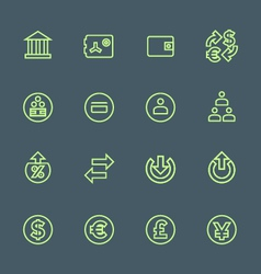 Green outline various financial banking icons set vector