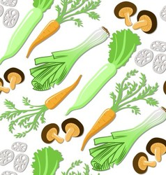 Seamless pattern with japanese vegetables and mush vector