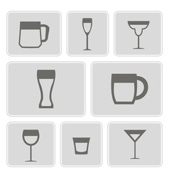 Icons with different containers for drinks vector