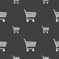Shopping cart icon sign seamless pattern on a gray vector