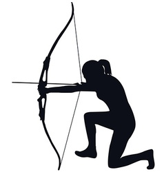 Female archer with bow and arrow vector