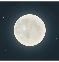 Realistic moon in the night sky vector