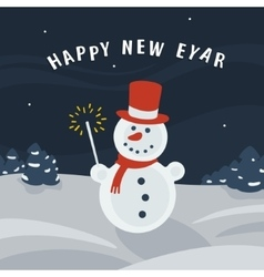 Christmas card snowman vector
