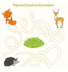 Help meet friends in the meadow child game vector