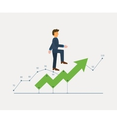Man in suit running on a growing chart curve arrow vector