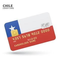 Credit card with chile flag background for bank vector