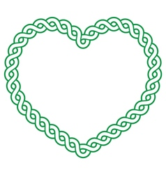 Celtic pattern green heart shape - love concept fo vector image