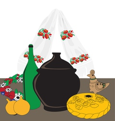 Table with ukrainian cuisine vector