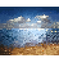 Blurred pixelated sea backdrop vector