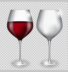 Full and empty glass of wine on transparent vector